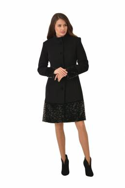 Black coat with fur accessory